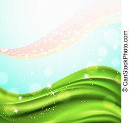 abstrakt, baggrund, hos, bølgede, grønnes felt, og, gnistr, lys, particles., vektor