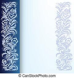 abstrakt, baggrund, hos, blomstrede, ornamentere, på, blå