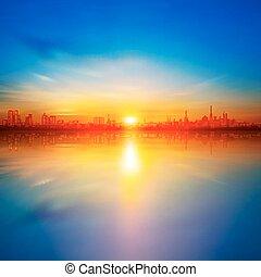 abstrakt, baggrund, hos, solnedgang, ind, tallinn