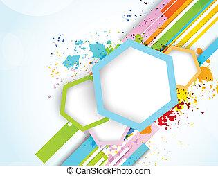 abstrakt, baggrund, sekskanter