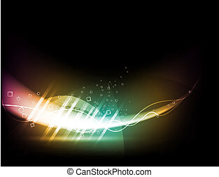 abstrakt, bakgrund, -, energi, våg