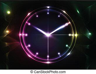 abstrakt, bakgrund, klocka