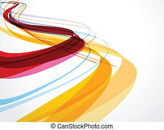 abstrakt, bakgrund, komposition, våg