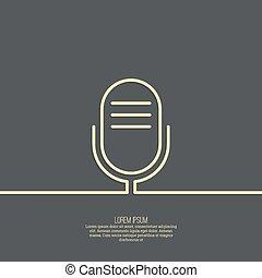 abstrakt, bakgrund, med, en, gammal, mikrofon