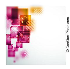 abstrakt, bakgrund, med, fyrkant, formar