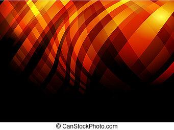 abstrakt, bakgrund, med, guld, och, röd, vågig, stripes