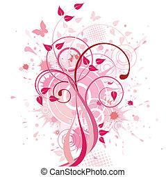 abstrakt, bakgrund, rosa, blommig