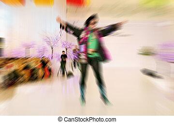 abstrakt, bakgrund, -, sätt modellera, på, catwalk, -, radialdäck, zoom, blu