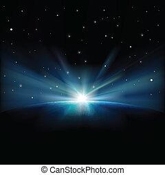 abstrakt, bakgrund, stjärnor, utrymme