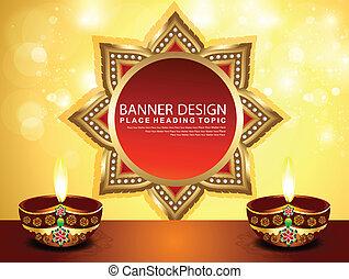 abstrakt, banner, diwali, baggrund