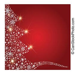 abstrakt, baum, weihnachten, schneeflocken