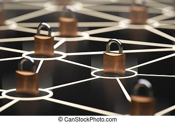 abstrakt, begrepp, säkra, nätverk