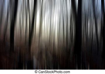 abstrakt, bewegungszittern, von, bäume, in, a, wald