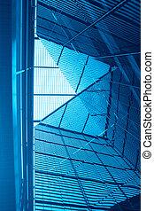 abstrakt, blå, arkitektur