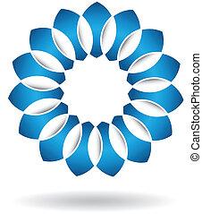 abstrakt, blå blomma, logo