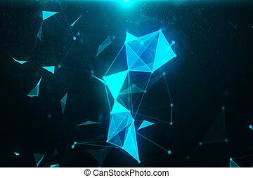 abstrakt, blå linje