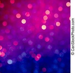 abstrakt, blå, och, violett, cirkulär, bokeh, bakgrund