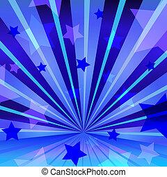 abstrakt, blauer hintergrund, mit, sternen, und, ausstrahlen