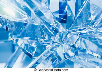 abstrakt, blauer hintergrund, von, kristall, brechungen