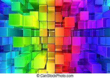 abstrakt, blokke, farverig, baggrund