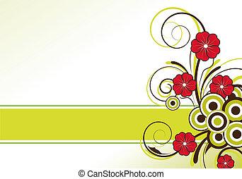 abstrakt, blom formgivning, med, text, område