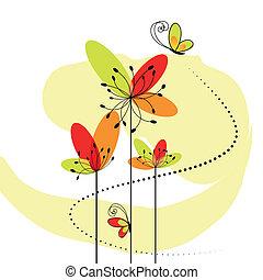 abstrakt, blomma, vår