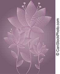 abstrakt, blomningen, hälsningskort
