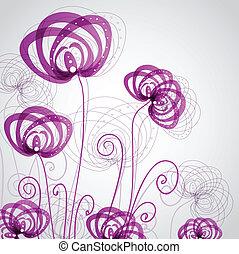 abstrakt, blomningen, violett