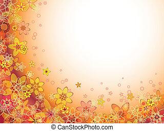 abstrakt, blomst, appelsin farve, mønster