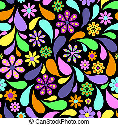 abstrakt, blomst, sort baggrund