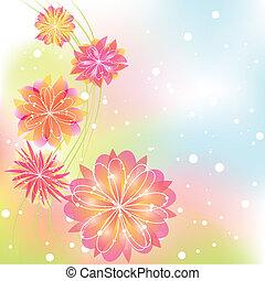 abstrakt, blomst, springtime, farverig