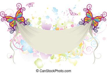 abstrakt, blumen-, papillon, banner, hintergrund