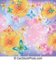 abstrakt, blumen, vlinders, hintergrund