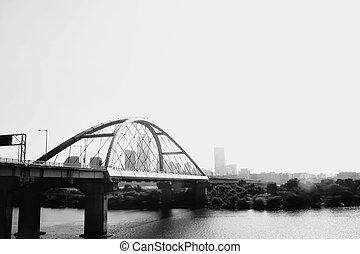 abstrakt, bro, hos, han, flod