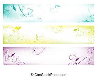 abstrakt, bunte, blumen-, web, banner
