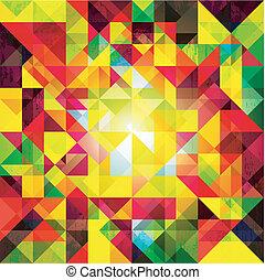abstrakt, bunte, geometrisch, grunge, hintergrund