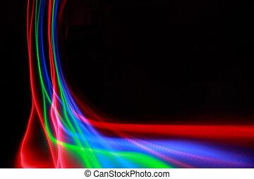 abstrakt, bunte, linien, auf, schwarzer hintergrund, blaues, grün, rosa rot, freezelight, farbe