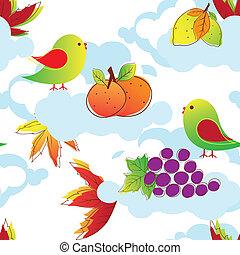 abstrakt, bunte, vögel, seamless