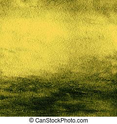abstrakt, bunte, wasser- farbe, für, hintergrund., textured, grün, gelber , aquarell, hintergrund.