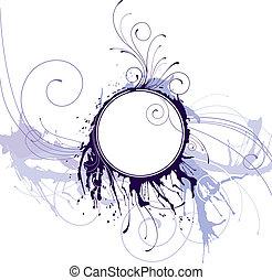 abstrakt, cirkel, ram, bläck