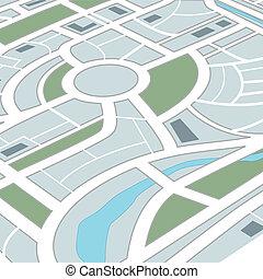 abstrakt, city kort