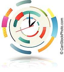 abstrakt, colourful., klocka