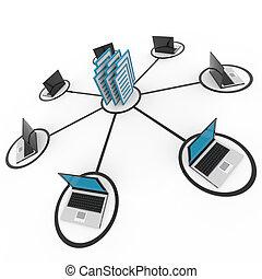 abstrakt, computernetzwerk, mit, laptops, und, archiv, oder,...