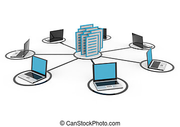 abstrakt, computernetzwerk, mit, laptops, und, archiv, oder, database.