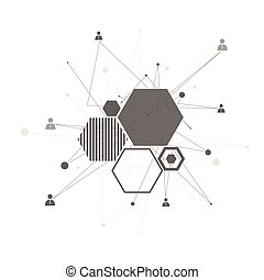 abstrakt, connection., menschliche