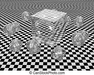 abstrakt, cube.