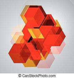 abstrakt, cubes., hintergrund, 3d