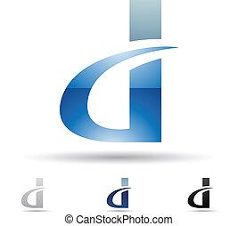 abstrakt, d, brev, ikon