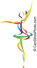 abstrakt, dansare, balett