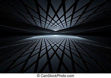 abstrakt, digital, fractal, kunst, auf, perspektive